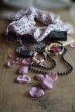 Bufanda rosada para mujer y vidrios Foto de archivo