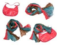 Bufanda y bolso rojo Imagenes de archivo