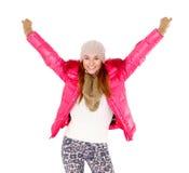 Bufanda y casquillo de la chaqueta del invierno de la mujer que desgastan joven Fotos de archivo libres de regalías