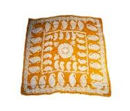 Bufandas hermosas orientales turcas con las imágenes de la seda natural en un fondo blanco Imagen de archivo