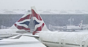 Bufera di neve all'aeroporto di Heathrow Fotografia Stock