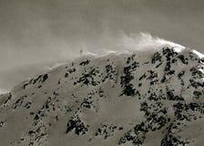 Bufera di neve alla cima della montagna - alpi, Austria, Tirolo della neve Fotografie Stock