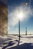 Bufera di neve alla luce solare Fotografia Stock Libera da Diritti