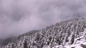 Bufera di neve in cima al picco di montagna stock footage