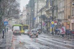 Bufera di neve con forte nevicata e vento bagnati Immagini Stock Libere da Diritti