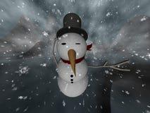 Bufera di neve del pupazzo di neve Fotografia Stock