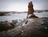 Bufera di neve della sosta nazionale di Canyonlands, Utah Fotografie Stock