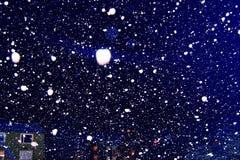 Bufera di neve e luci della neve Fotografie Stock Libere da Diritti