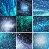 Bufera di neve, fiocchi di neve e fondo delle stelle Immagini Stock Libere da Diritti