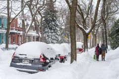 Bufera di neve di Montreal nel gennaio 2018 Fotografia Stock Libera da Diritti