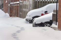 Bufera di neve di Montreal nel gennaio 2018 Fotografie Stock Libere da Diritti