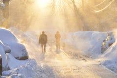 Bufera di neve nella città Fotografie Stock