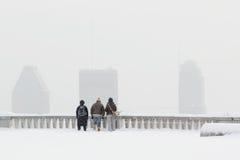 Bufera di neve nella città di Montreal immagine stock