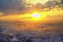 Bufera di neve nella steppa Fotografia Stock