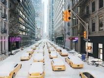 Bufera di neve a New York City rappresentazione 3d Immagini Stock