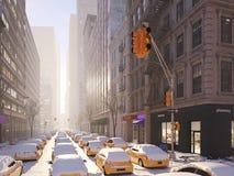Bufera di neve a New York City rappresentazione 3d Immagine Stock Libera da Diritti