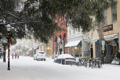 Bufera di neve su re Street, Charleston, Sc Immagini Stock Libere da Diritti