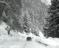 Bufera di neve sulle alpi Immagini Stock Libere da Diritti