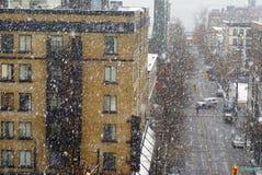 Bufera di neve a Vancouver del centro Immagini Stock