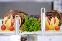 Bufet z mięsem 2 i warzywami obraz stock