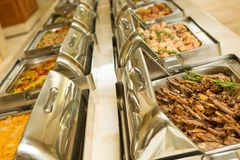 Bufete do alimento no restaurante Foto de Stock Royalty Free