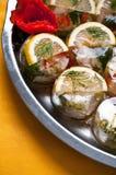 Bufféstilfisk och grönsaker Fotografering för Bildbyråer