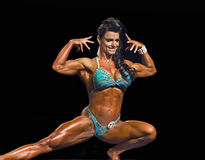 Buff and Curvy Physique Contestant in Vancouver. Kristina Dybdahl-Farnsworth of Santee, California, displays an impressive muscularity, a developed, defined, and Royalty Free Stock Image