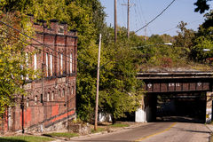 Buff Red Brick with Arch Details - Historic Abandoned Brewery stock photos