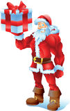 Buff Santa med gåva Royaltyfri Foto