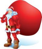 Buff Santa med textutrymmepåsen Royaltyfri Bild