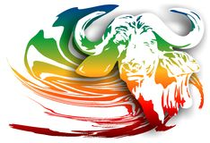 Buffalo on an abstract background. (Vector) Royalty Free Stock Photo