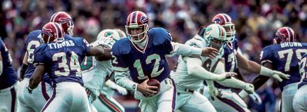 Buffalo affiche le Panthéon QB Jim Kelly Images libres de droits