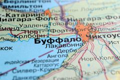 Buffalo. America on a geographical map with Russian text. Selective focus stock photography