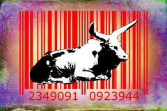 Buffalo barcode animal design art idea. I am a traditional artist. This is digital painting and 3d software compilation. This is my own idea Stock Photo