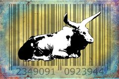 Buffalo barcode animal design art idea. I am a traditional artist. This is digital painting and 3d software compilation. This is my own idea Stock Images
