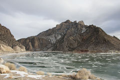 Buffalo Bill reservoir. This is the buffalo bill reservoir near Cody Wyoming. The ice was all cracked and really beautiful royalty free stock photography