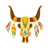 Buffalo Bull Scull Decorated With Painting And Feathers, Native Indian Culture Inspired Boho Ethnic Style Print. Tribal American Stylized Vector Illustration Stock Image