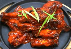 Buffalo chicken wings in a metal plate royalty free stock photo