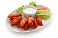 Buffalo chicken wings with blue cheese dip. On white background stock photography