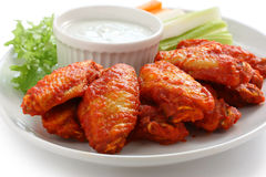 Buffalo chicken wings with blue cheese dip royalty free stock photos