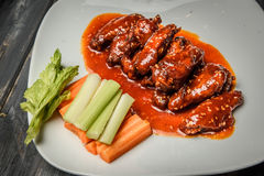 Buffalo chicken wings with blue cheese dip Royalty Free Stock Photography
