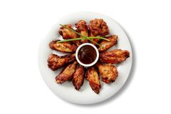 Buffalo chicken wings dinner stock photo