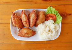 Buffalo chicken wings with sticky rice Stock Image
