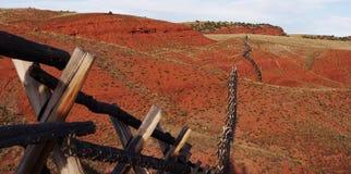 A buffalo fence in Wyoming. Stock Photos