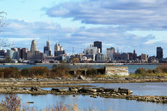 Buffalo Riverfront Cityscape Niagara River HDR Royalty Free Stock Images