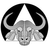 Buffalo head, black and white symmetrical drawing with patterned hatched parts, tattoo template, T-shirts printing, club totem  Royalty Free Stock Photography
