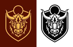 Buffalo head sihouettes on shield vector emblem vector illustration