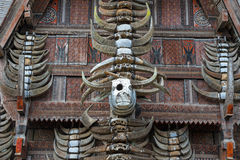 Buffalo horns at traditional houses in Tana Toraja, Sulawesi Royalty Free Stock Photo