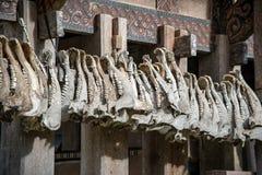 Buffalo jaws hanging at Tongkonan traditional houses in Tana Toraja Royalty Free Stock Photos