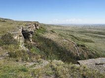 Buffalo Jump. An image of a cliff that the Black Feet Indians drove buffalo off in an annual hunt.  Located near Fort Macleod, Canada Stock Photo